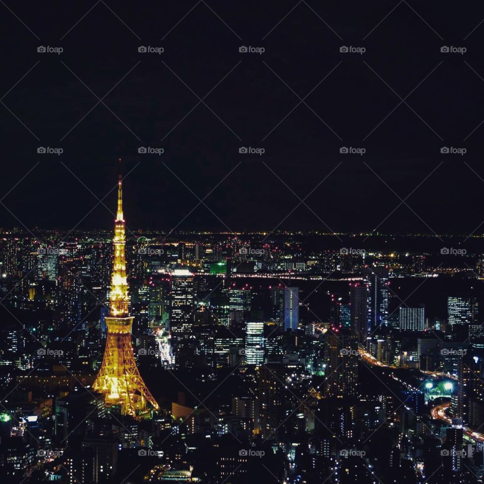 Tokyo by night . Japan's capital, Tokyo is stunning by night with Tokyo tower and other tall buildings dominating the skyline