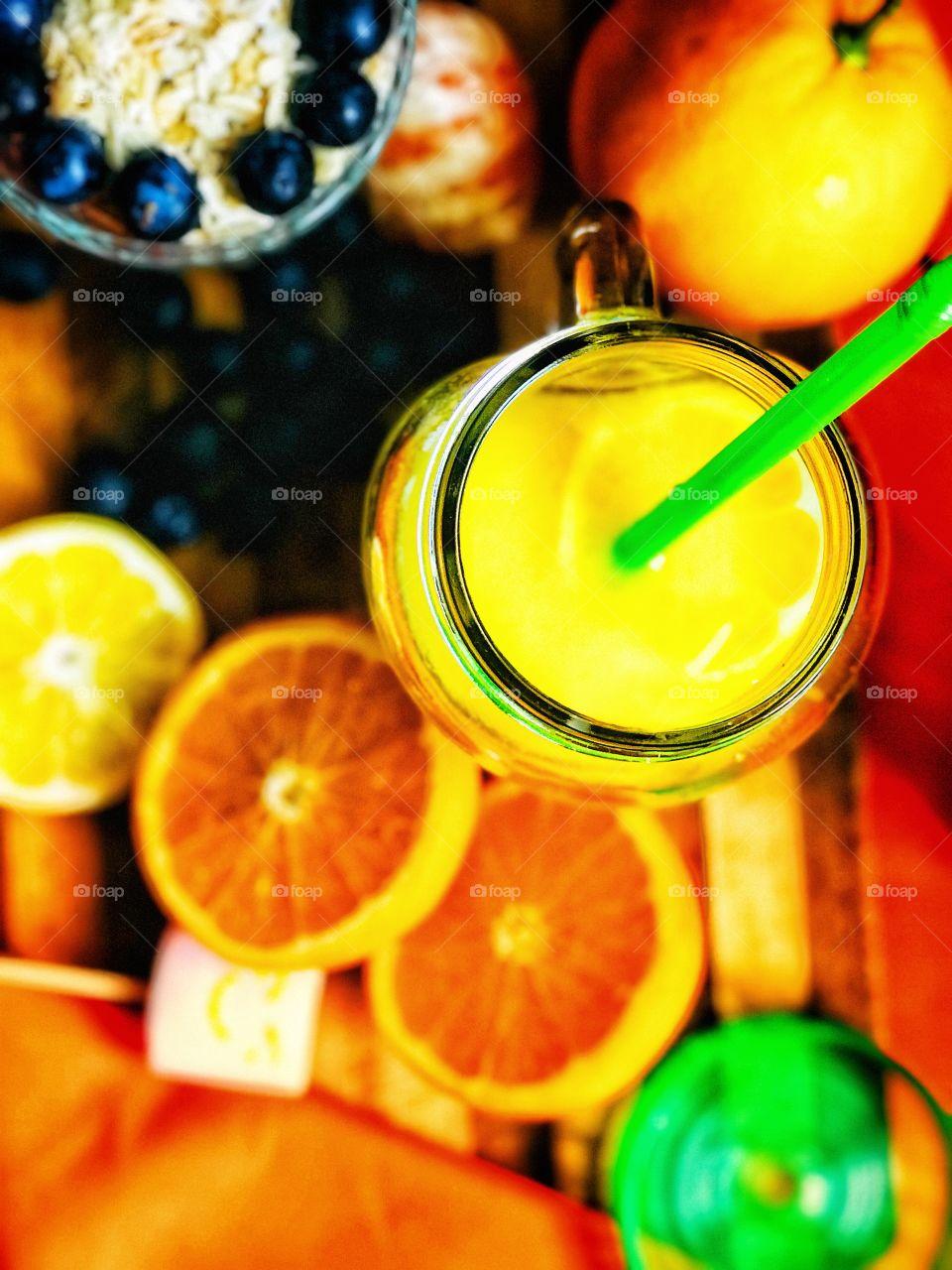 orange juice and snacks