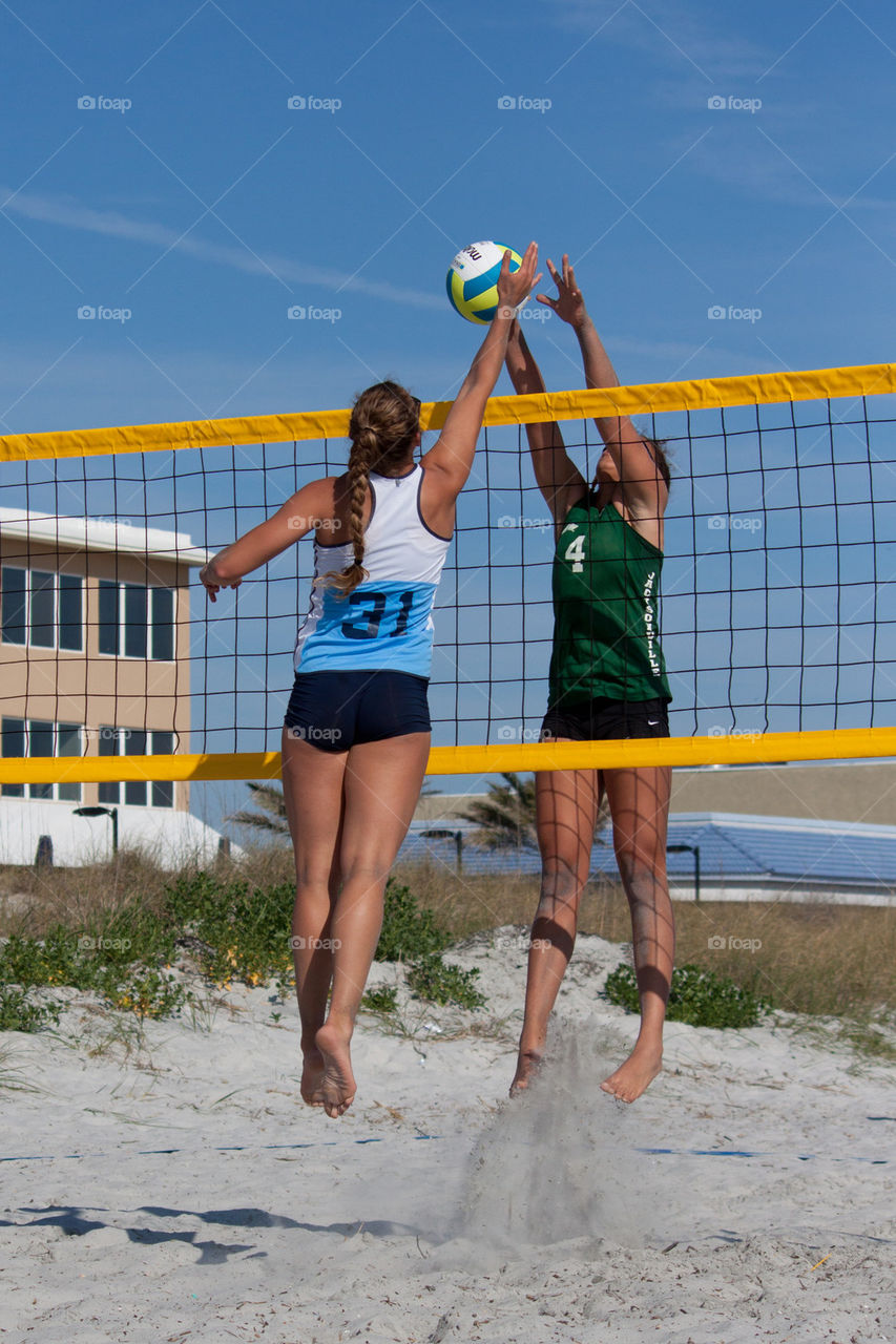 Women's sand volleyball on the beach