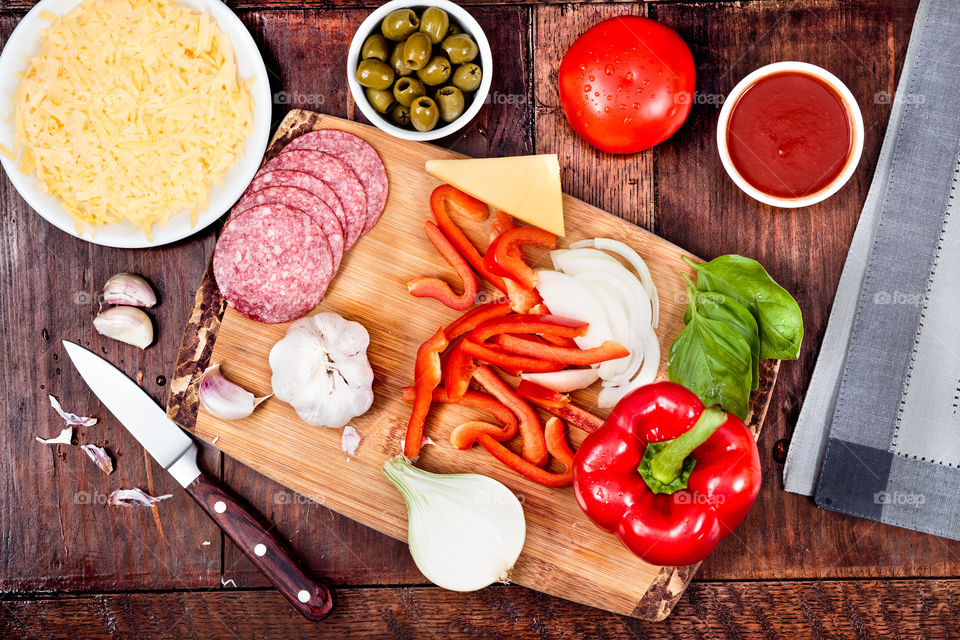 Ingredients for making pizza