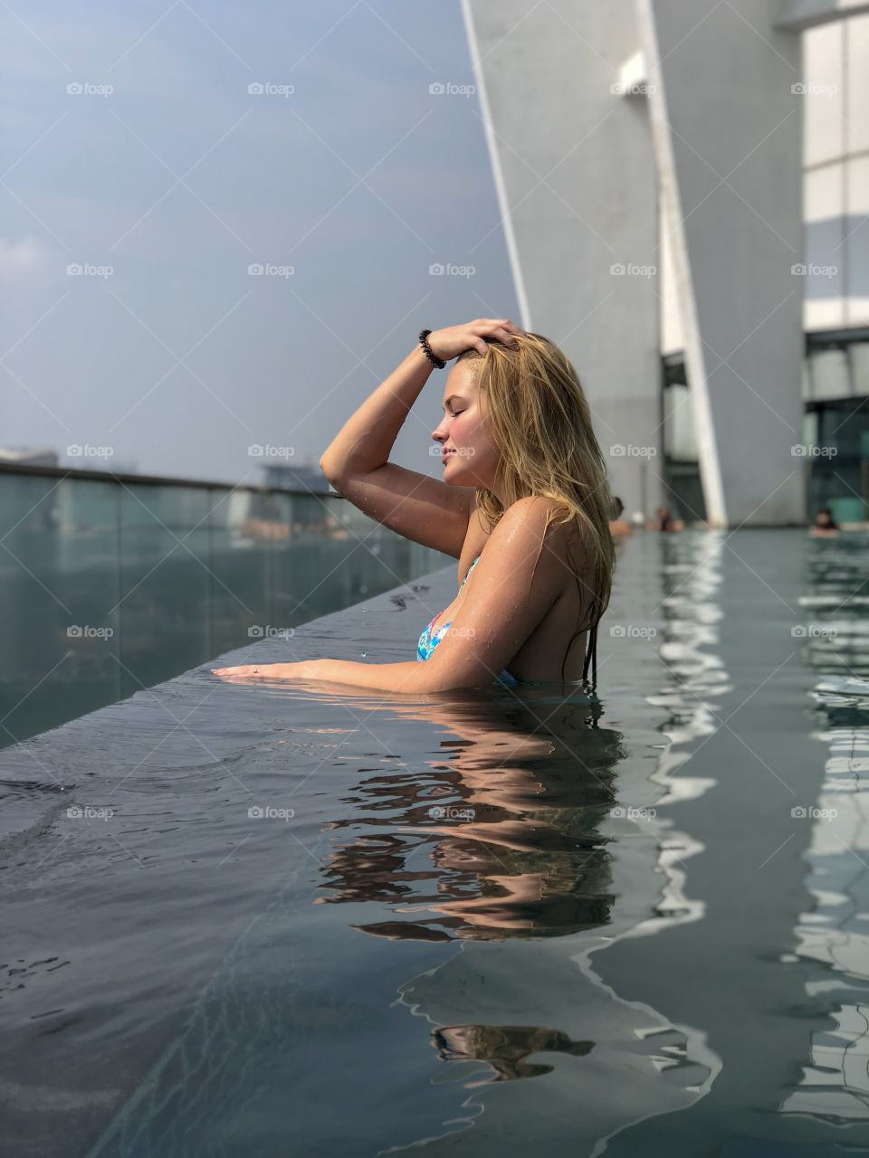 Overlooking the city of Kuala Lumpur from the roof of our AirBnb. Amazing view, and relaxing pool!