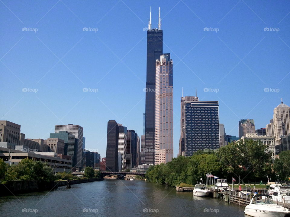 chicago river by boat. view of chicago from a boat