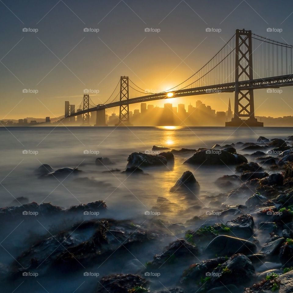 Golden gate in san Francisco over the beach