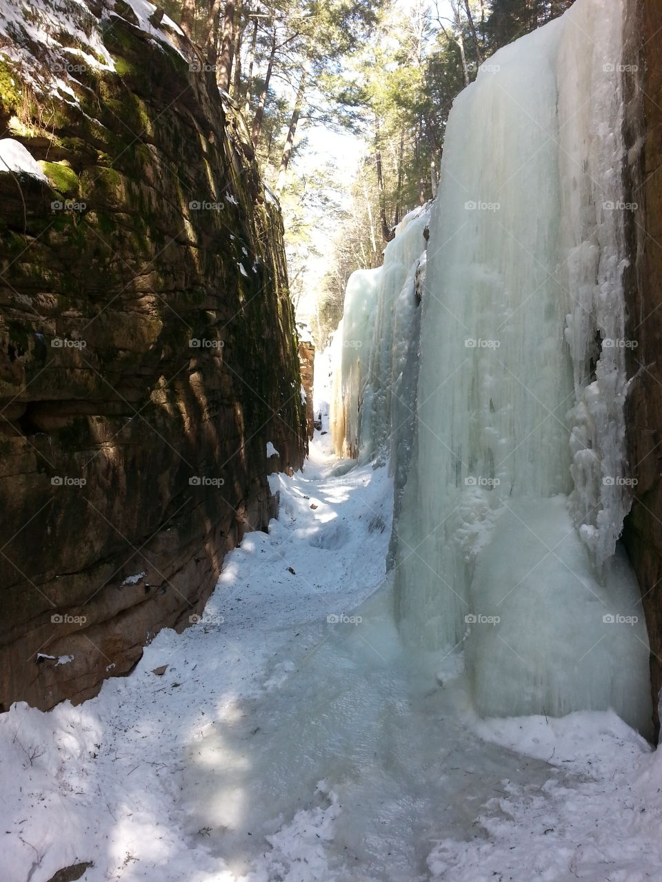 Flume Gorge in the Winter. Hike in the woods of New Hampshire