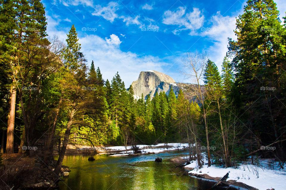 Half dome,landmark of Yosemite national park