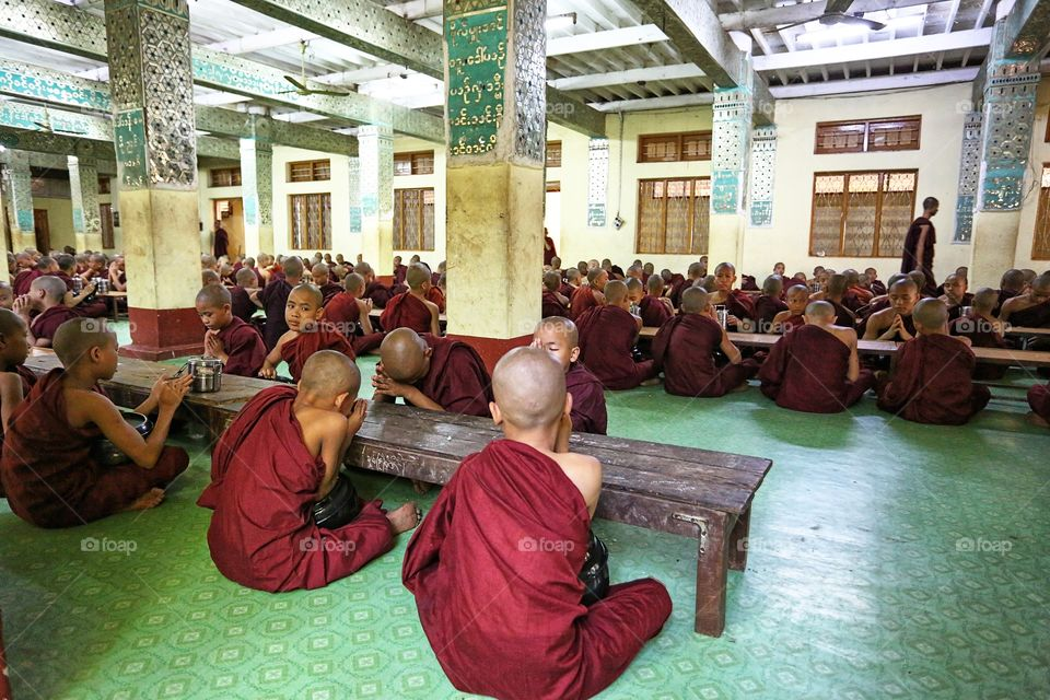 Monks at meal time