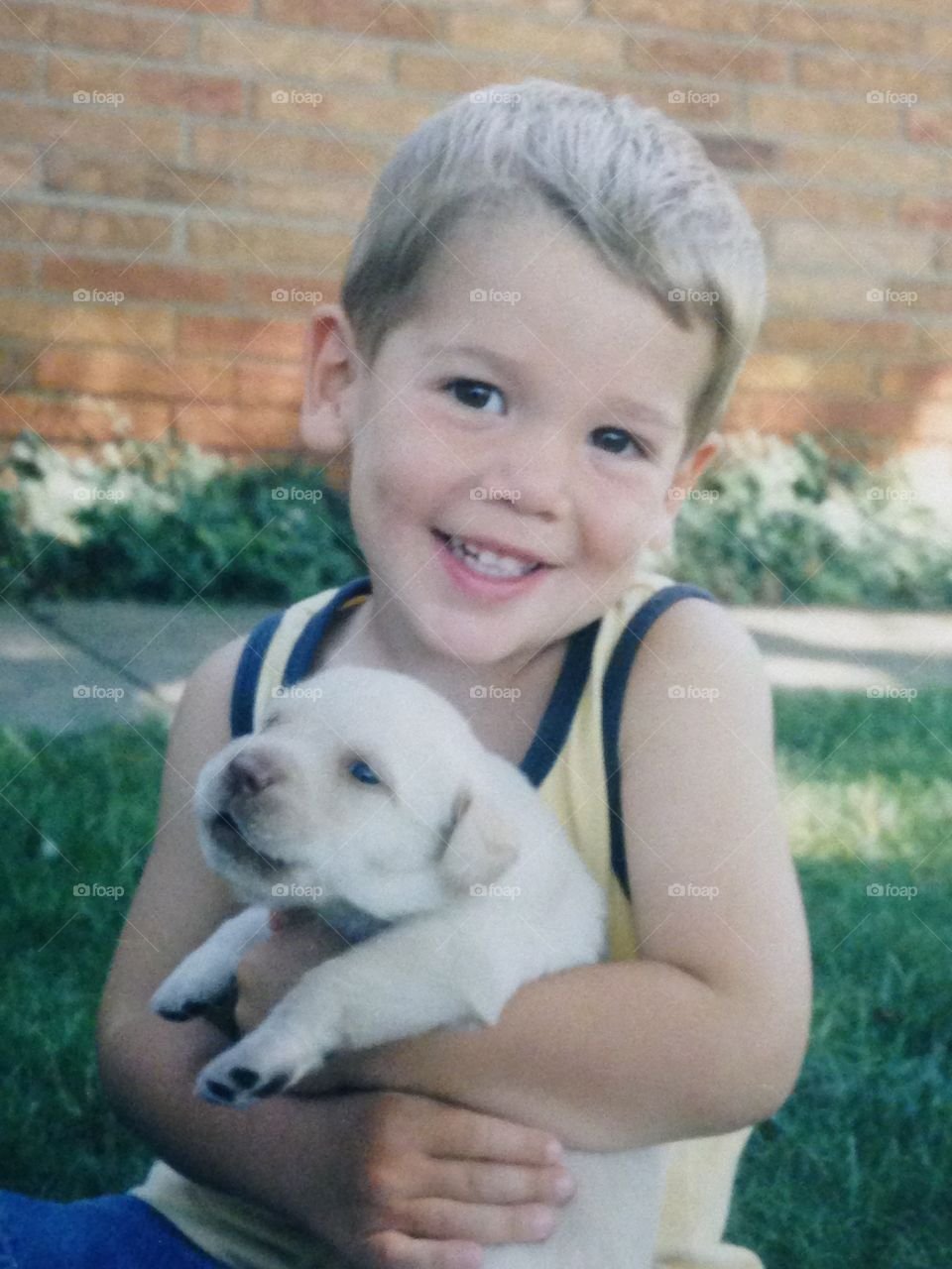 Adorable boy holding cute yellow puppy