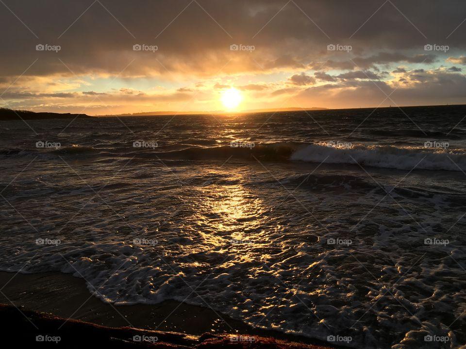 Reflection of sun at sea