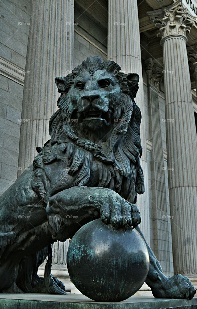 Bronze Lion. Bronze lion at the Congress of Deputies, Madrid, Spain