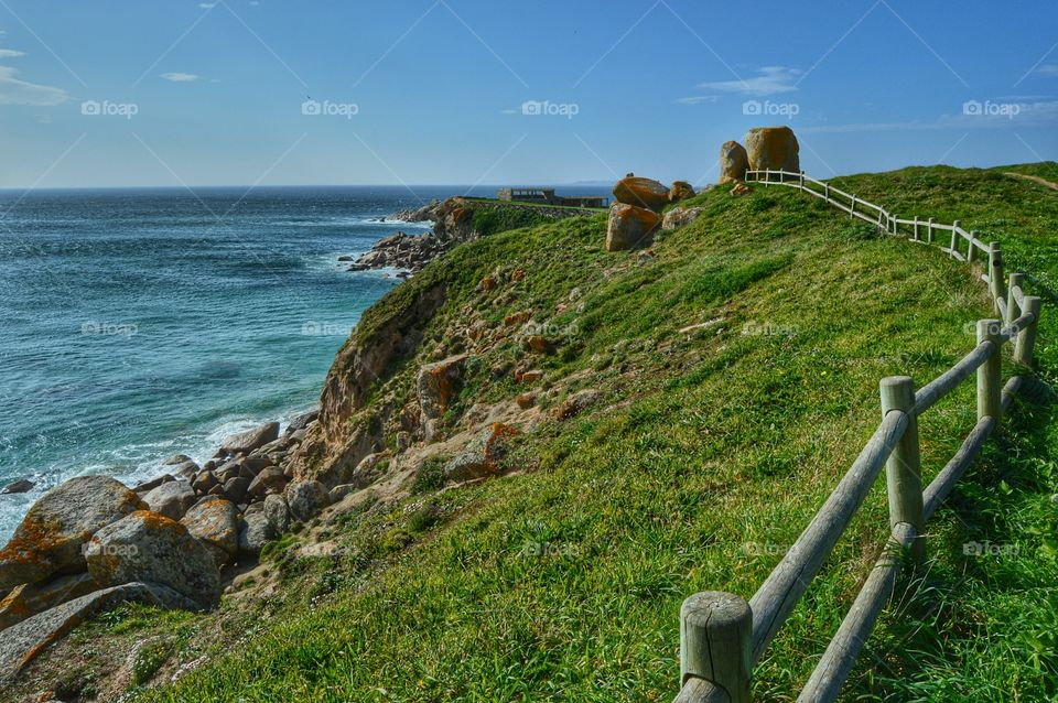 View of the old fortress at A Lanzada beach, Galicia