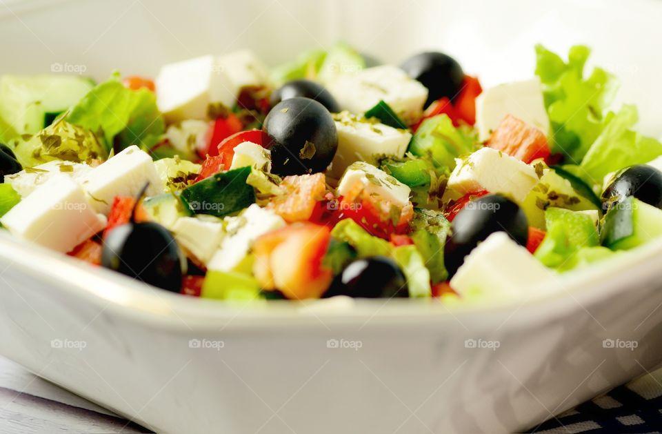 Cooking Greek salad