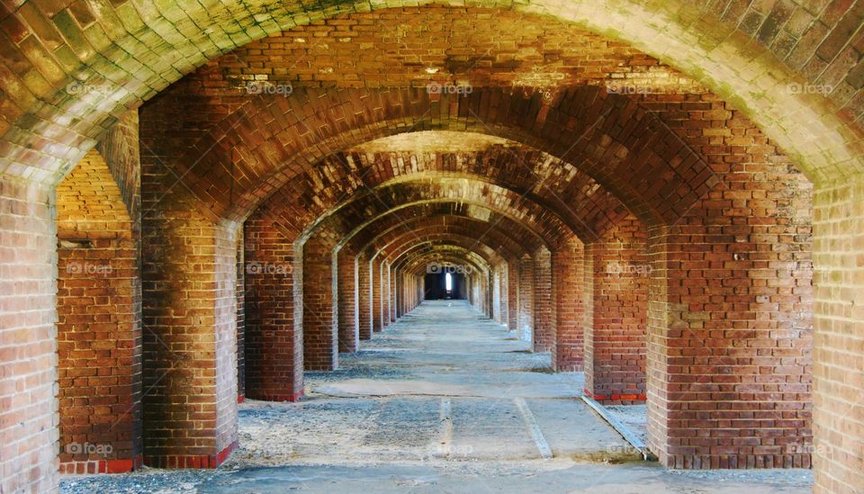 Brick Wall forming a Tunnel