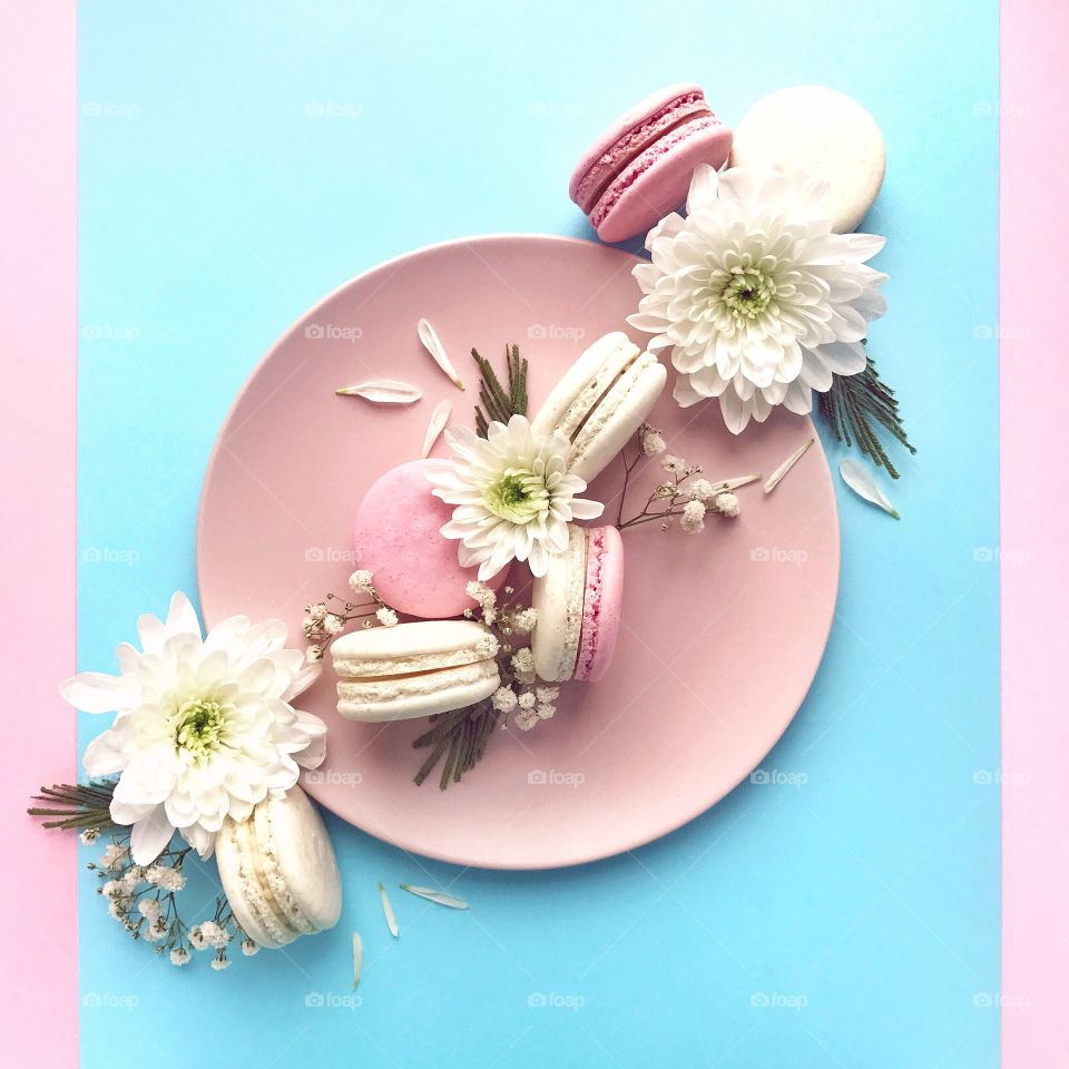 Delicious macaroons. Food photography