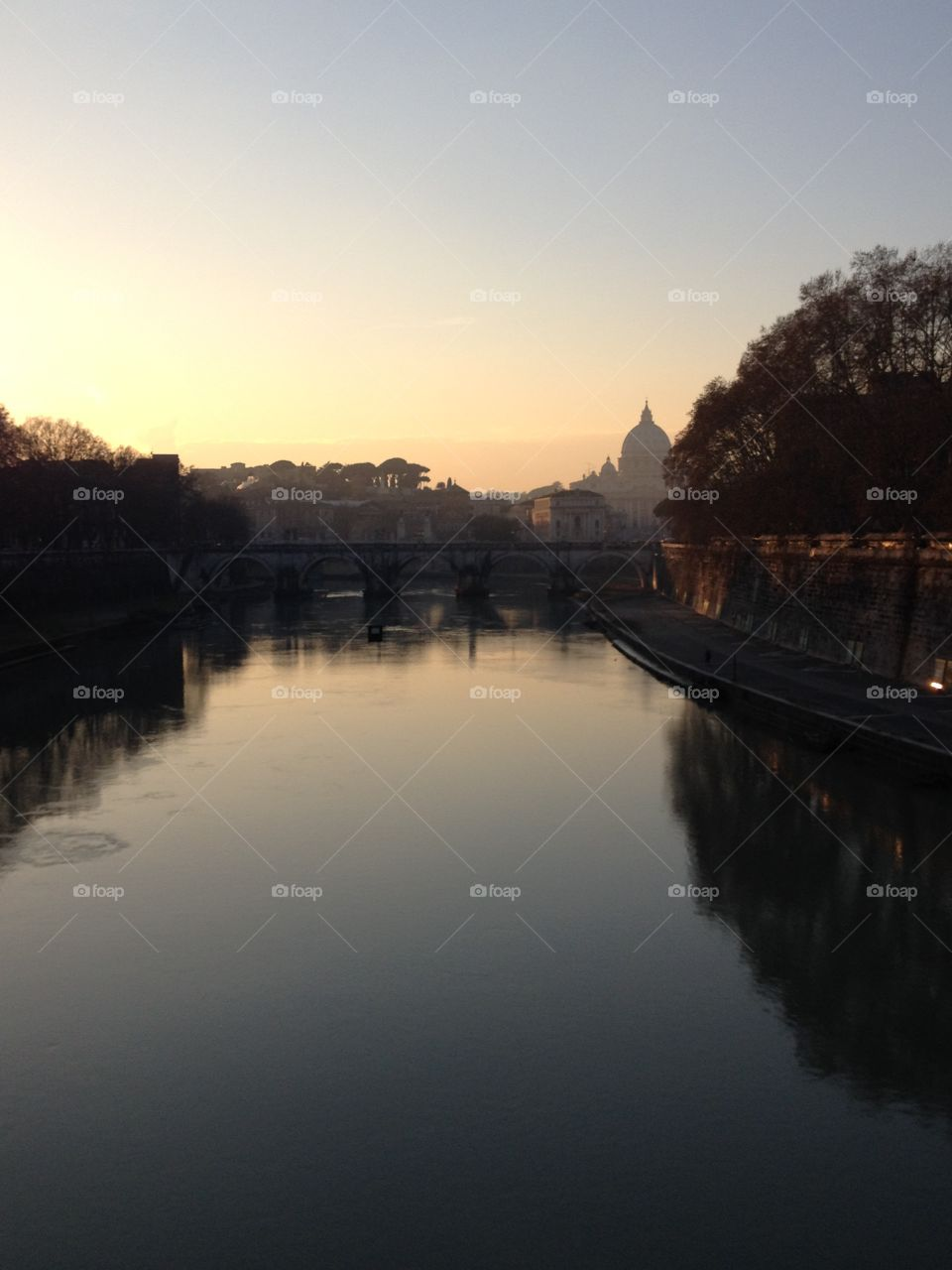 Tiber River in Rome overlooking the Vatican
