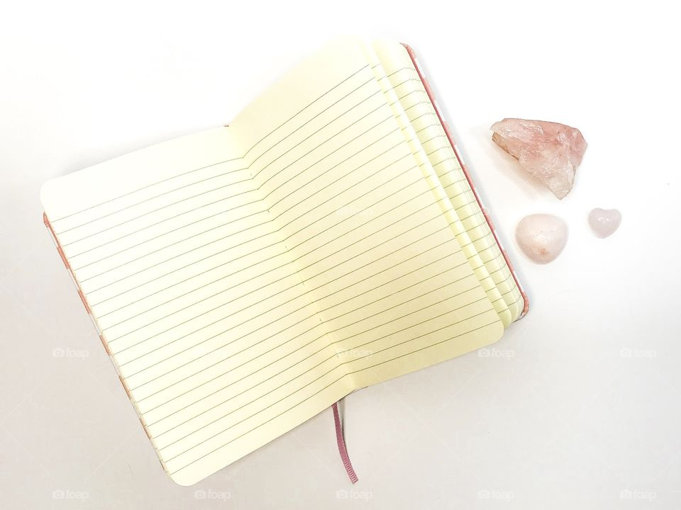 Notebook and crystals