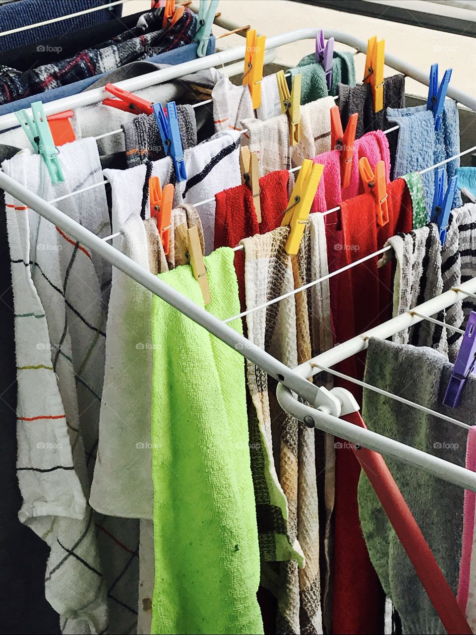 Close-up of laundry drying