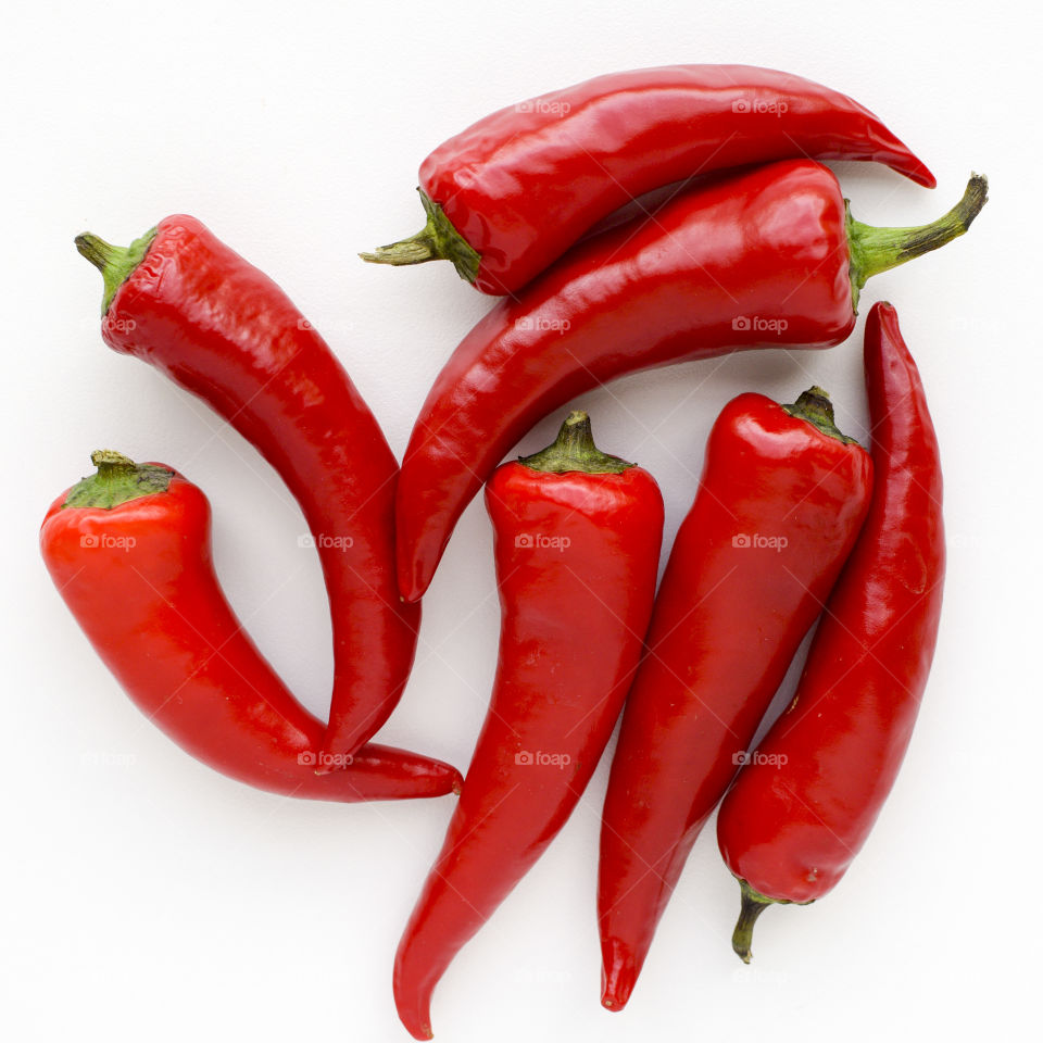 Flat Lay of Hot Red Peppers
