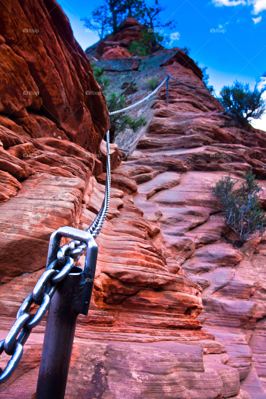 Angel landing trail in Zion national park,USA